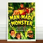 "Vintage Movie Poster Art ~ CANVAS PRINT 16x12"" Man Made Monster"