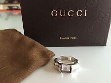 GUCCI BAMBOO RING WHITE TOPAZ SIlver New in Box Size 13