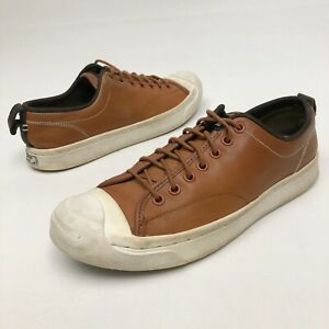 ✅❤️✅@ Converse Jack Purcell Brown Leather Low Top Sneaker 9.5 Eu41 Flats Skate