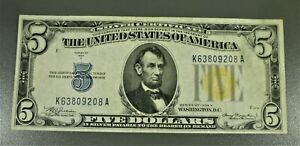1934-A $5 NORTH AFRICA Yellow Seal Silver Certificate K63809208A