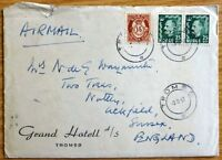1957 Vintage Postal History Cover from Norway to England No FR-623.