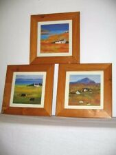 3 Abstract Landscapes Signed Chuck W Lumann Prof. Framed Cows Sheep Sea Homes