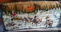 """Vintage Snow Sled Dog Woven Rug Tapestry Wall Hanging 38"""" x 19"""""""