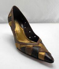 Antonio Melani Brown/Metallic Gold/Embossed Reptile Woven Leather Pumps - 6M