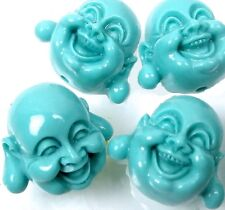 5 Sky Blue Resin Turquoise Happy Buddha 3-D Beads 17x20mm