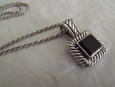 LOVELY Estate .925 STERLING SILVER BLACK ONYX ROPE NECKLACE 20""