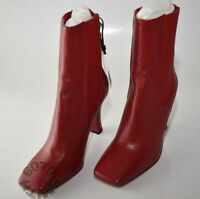 BNWT Zara Red Leather High Heel Boots Size 5