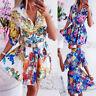 Women Lapel V-Neck Mini Dresses Ladies Button Summer Beach Boho Sundress Holiday
