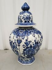 "Nice Dutch "" Velsen "" Delft Blue  handpainted "" lidded vase"". With birds"