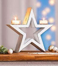 Teelichthalter Kerzenhalter Weihnachten Stern Holz shabby chic Weihnachtsdeko