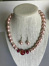 New set of cultured pink pearl necklace with earrings 925 kt silver accessories