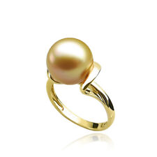 AAA 10-11mm Golden Real South Sea Pearl Spiral Ring Solid 18k Yellow Gold Size 6
