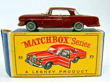 """MATCHBOX rw53b Mercedes 220se Bordeaux/D 'brun rouge argentées Roues dans """"D"""" BOX"""