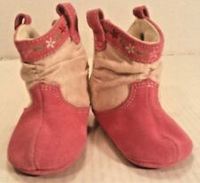 Baby Deer Western BOOTS Pink Suede Leather Crawl Stage GIRL Infant Baby 2 NWT