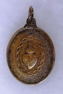 Imposante Médaille Coeur Sacré Vierge Marie Porte Bonheur de Poilu WWI 1914-1918