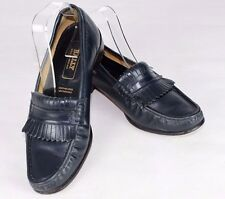 BALLY NAVY BLUE LEATHER LOAFERS FLATS SIZE 40 UK 7 Lightly Used Made in England