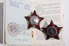 Original!!! Soviet USSR WW2 2 Orders Of Red Star 2760075, 2760076 Docs. 1947y