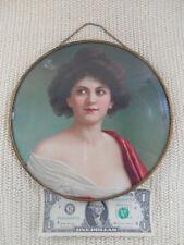 "Antique Victorian Flue Cover Lithograph Pretty Lady 9 1/2"""
