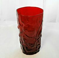 "Vintage MORGANTOWN Glass CRINKLE RUBY 5 1/8"" Flat Drinking TUMBLER - Multiples"