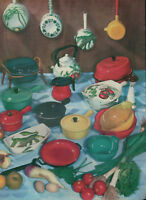 PUBLICITÉ DE PRESSE 1958 ARLEQUIN LE CREUSET AUBECQ PYREX PORCELAINE DE PARIS