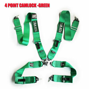 Green 3'' Removable Racing Seatbelts 4 Point Car Belts Harness Bucket