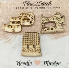 Set of 3 Wooden Needle Minders for cross stitch/ embroidery