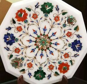 13 Inches Marble Coffee Table Top Octagon Center Table with Pietra Dura Art