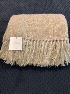 "New Restoration Hardware Alpaca Boucle Weave  50"" X 70"" Throw Dune $299"