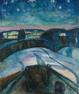 EDVARD MUNCH STARRY NIGHT ART PRINT REPRODUCTION ON CANVAS 20X24 snow landscape