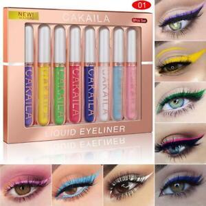 8Pcs/Set Eye Makeup Liquid Eyeliner Waterproof Colour Liner Pen Long Lasting UK