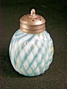 Antique Blue Opalescent Glass Reverse Swirl Shaker