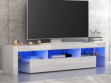 Large 200cm TV Unit Cabinet Stand High Gloss Doors Matt body Sideboard FREE LED