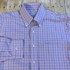 Brooks Brothers Milano Extra Slim Fit Non Iron Windowpane Dress Shirt 15.5 33