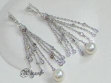 925 Chapado en Plata Pendientes de Boda, Gota Colgante borla pendientes de perlas de largo, Stud