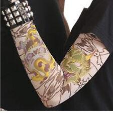 Faux tatouage tattoo sur 1 manche motifs noirs et vert variés biker diable 7980