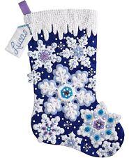 "Bucilla Felt Applique Kit 18"" Stocking ~ SPARKLE SNOWFLAKES #86709 Sale"