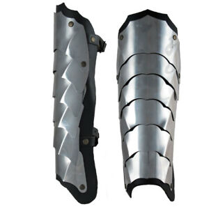 Pair of Leg greaves armor, Medieval Warrior stainless steel leather Larp