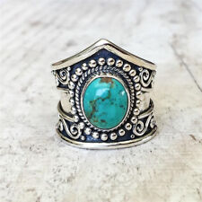 Tibetan 925 Silver Women Oval Turquoise Gemstone Ring Prom Party Boho Jewelry
