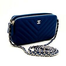 L98 CHANEL Authentic Blue Caviar Wallet On Chain WOC V-Stitch Shoulder Bag