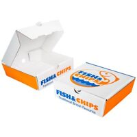 """5"""" Fish and Chips Chippy Takeout Takeaway Box Printed Die Cut qty x 100"""