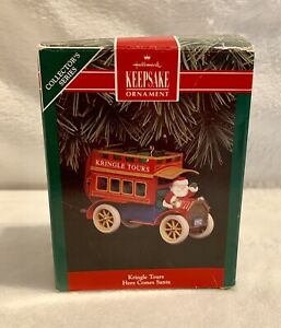 Hallmark Kringle Tours 1992 Here Comes Santa Christmas Ornament EUC