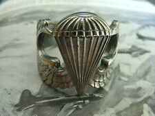 Post WWII US Army Air Force 925 sterling silver Paratrooper wings ring