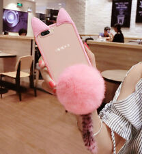 New 3D Cute Cat Ear Plush Hairball Support Soft TPU Case Cover For Various Phone