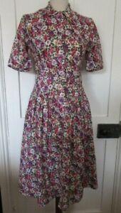 VINTAGE 70'S ORIGIN COTTON LAWN FLORAL LIBERTY PRINT SHIRT WAISTER DAY DRESS UK8