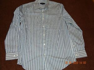 ATTENTION MENS MODERN FIT LONG SLEEVE BUTTON UP DRESS SHIRT SIZE MED BLUE STRIPE