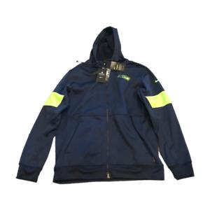 NWT New Seattle Seahawks Nike Therma Full Zip Sideline Large Hoodie Sweatshirt
