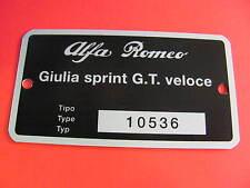 Targhetta dati Alfa Romeo Giulia Sprint GT Veloce (10536)