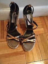 Burberry Metallic Leather Espadrille Wedge Sandals Size 36