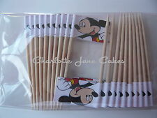 20 CUPCAKE FLAGS/TOPPERS - MICKEY MOUSE CHILDRENS BIRTHDAY PARTY