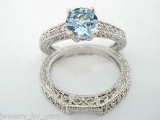 AQUAMARINE ENGAGEMENT RING & WEDDING BAND SETS 14K WHITE GOLD 1.12 CARAT